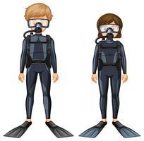 Man en vrouw in duikuitrusting vector
