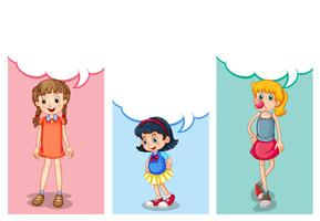 Labelontwerp met drie meisjes vector