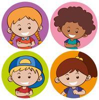Stickersjabloon met gelukkige kinderen vector