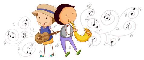 Mensen die muziekinstrumenten spelen vector