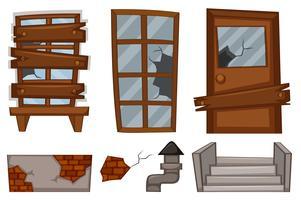 Gebroken ramen en deur op wit