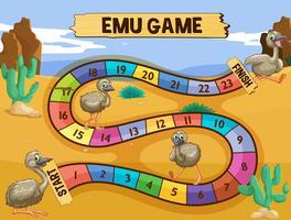 Bordspel-sjabloon met emoe in het veld vector