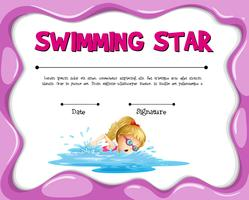 Zwemmen ster certificaatsjabloon met meisje zwemmen