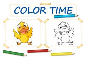 Kleurplaat met kleine eend