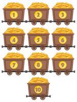 Tellen van getallen met goud in mijnkarren