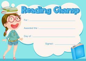 Certificaatsjabloon met meisje en boek achtergrond vector