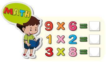 Math-werkbladsjabloon met problemen met jongen en vermenigvuldiging vector
