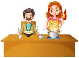 Vader en moeder die maaltijd op de lijst hebben vector