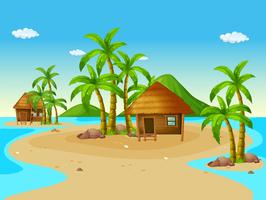 Scène met houten hutten op eiland