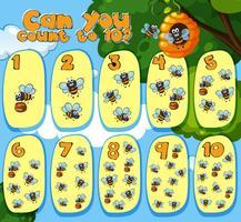 Wiskunde tellen bijen 1 tot 10 vector