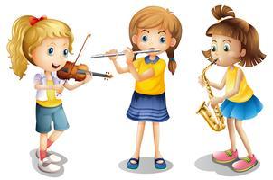 Drie meisjes die klassieke instrumenten spelen vector
