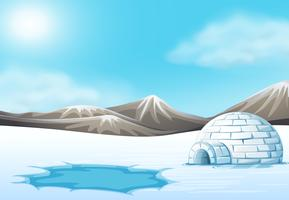 Noordpool en Iglo landschap vector
