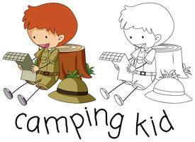 Doodle camping kid karakter vector