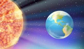 Aarde en de zon in de Melkweg vector