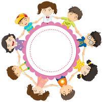 Bannerontwerp met kinderen hand in hand in cirkel