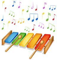 Xylofoon met muziek notities achtergrond vector