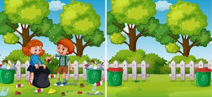 voor en na kinderen schoonmaakpark