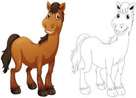 Dierlijke doodle voor paard vector