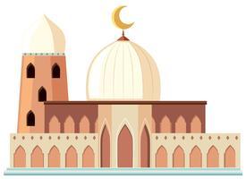 Een mooie witte moskee op witte achtergrond vector