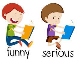 Tegenover woordkaart voor grappig en serieus vector