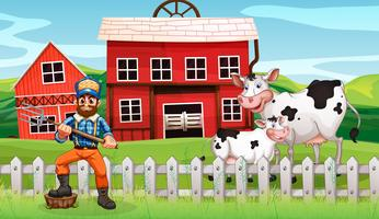 Een boer in landelijke scène