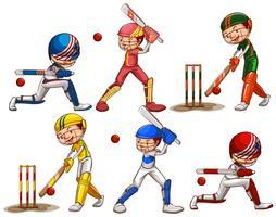 Mensen die cricket spelen