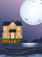 Bakstenen huis aan de oceaan vector