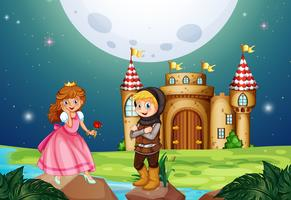 Prinses en ridder in het kasteel vector