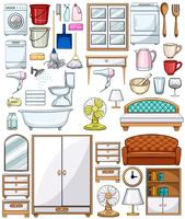 Verschillende huishoudelijke apparatuur en meubels