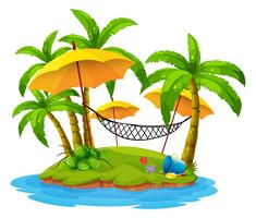 Kokospalmen en hangmat op eiland vector