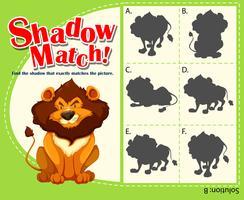 Spel sjabloon met bijpassende leeuw