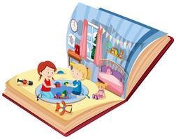 Meisjes die in slaapkamer op het boek spelen
