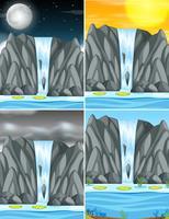 Set van waterval in verschillende weer