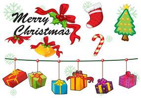 Kerstkaart sjabloon ornamenten en geschenken
