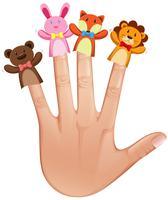 Dierlijke handpoppen op menselijke hand