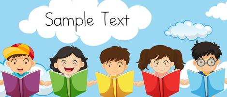 Voorbeeldtekstsjabloon met kinderen die boeken lezen vector