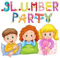 Kinderen in pyjama op slaapfeestje vector