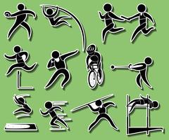 Sportpictogrammen voor verschillende soorten track en field-evenementen