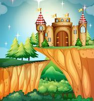 Scène met kasteel op de klip