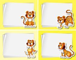 Papiersjabloon met tijgers vector