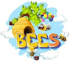 Bijen vliegen rond bijenkorf