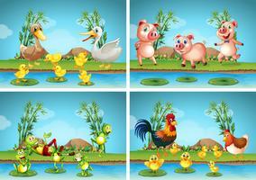 Scènes met boerderijdieren vector