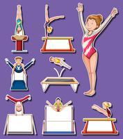 Sticker set voor gymnastiek spelers vector