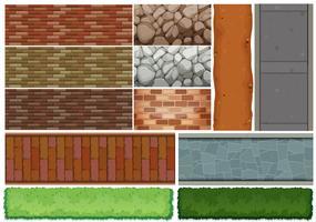 Het patroon van muurtegels en struik vector