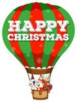 Fijne kerst met kerstman in ballon vector