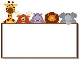 Grensmalplaatje met wilde dieren vector