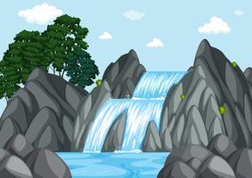 Waterval bij dagtijd vector