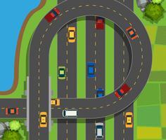 Luchtscène met auto's op weg vector