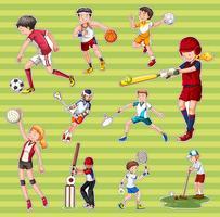 Sticker die met mensen wordt geplaatst die verschillende soorten sporten spelen vector