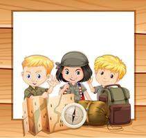 Grensontwerp met kinderen in kampeeruitrusting vector